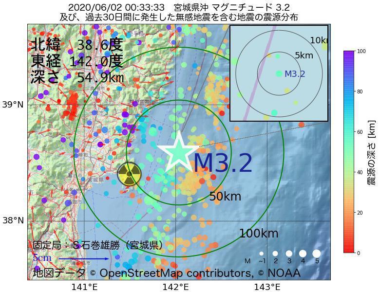 地震震源マップ:2020年06月02日 00時33分 宮城県沖でM3.2の地震
