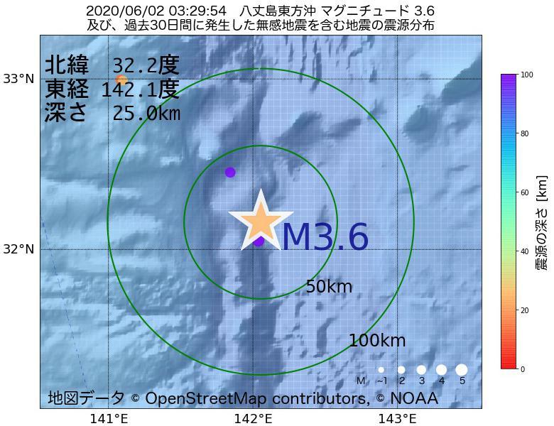 地震震源マップ:2020年06月02日 03時29分 八丈島東方沖でM3.6の地震