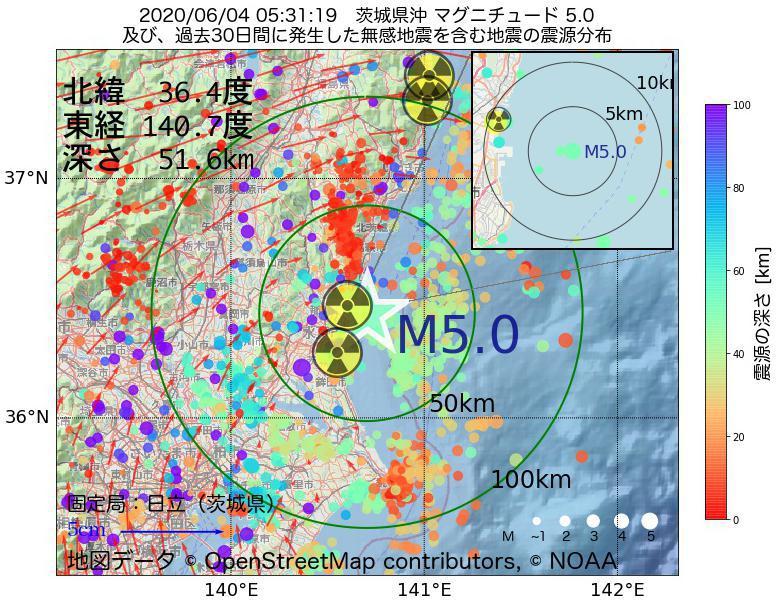 地震震源マップ:2020年06月04日 05時31分 茨城県沖でM5.0の地震