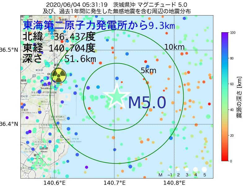 地震震源マップ:東海第二原子力発電所から9.3km地点でM5.0の地震が発生しました