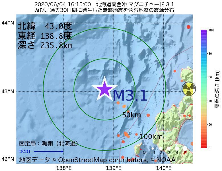 地震震源マップ:2020年06月04日 16時15分 北海道南西沖でM3.1の地震