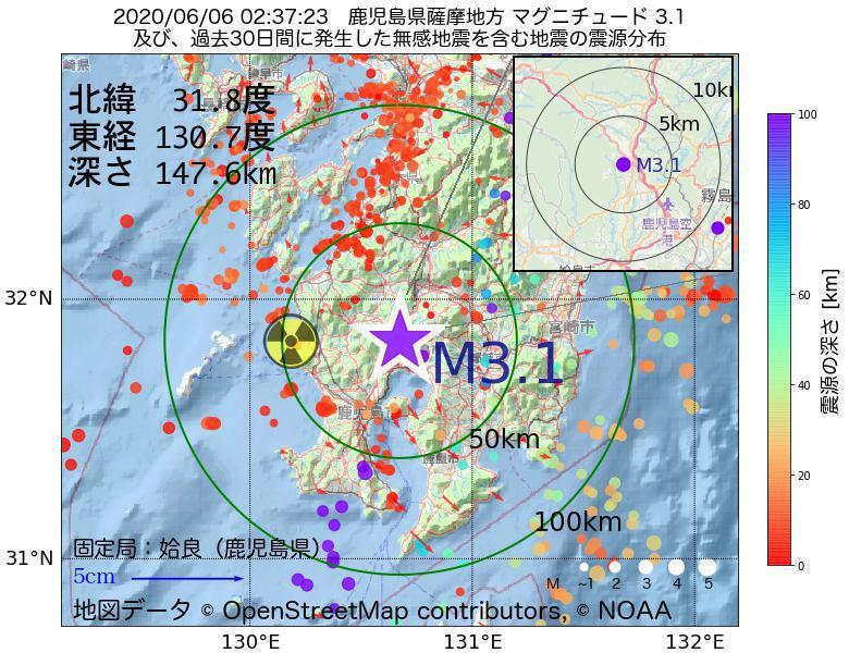 地震震源マップ:2020年06月06日 02時37分 鹿児島県薩摩地方でM3.1の地震