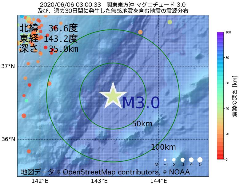 地震震源マップ:2020年06月06日 03時00分 関東東方沖でM3.0の地震