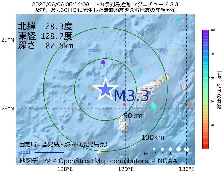 地震震源マップ:2020年06月06日 05時14分 トカラ列島近海でM3.3の地震