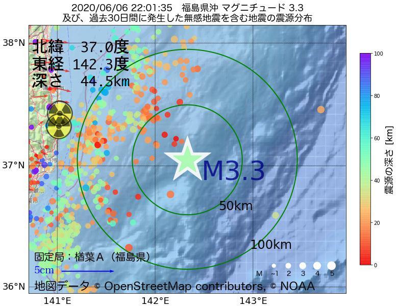 地震震源マップ:2020年06月06日 22時01分 福島県沖でM3.3の地震