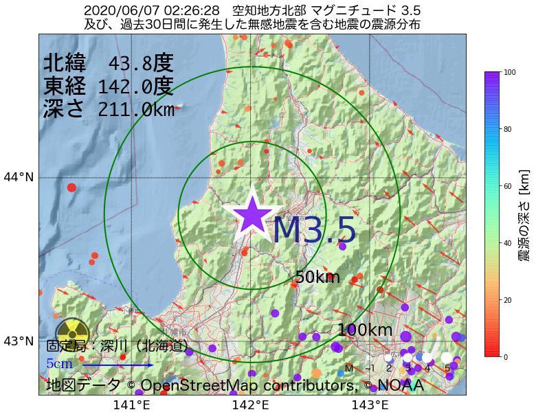 地震震源マップ:2020年06月07日 02時26分 空知地方北部でM3.5の地震
