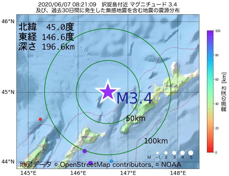 地震震源マップ:2020年06月07日 08時21分 択捉島付近でM3.4の地震