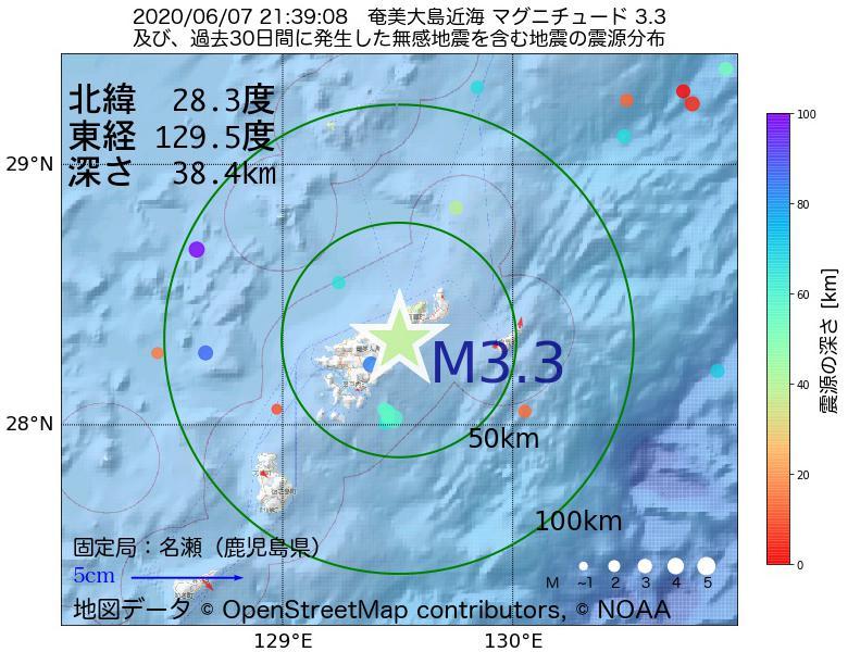地震震源マップ:2020年06月07日 21時39分 奄美大島近海でM3.3の地震