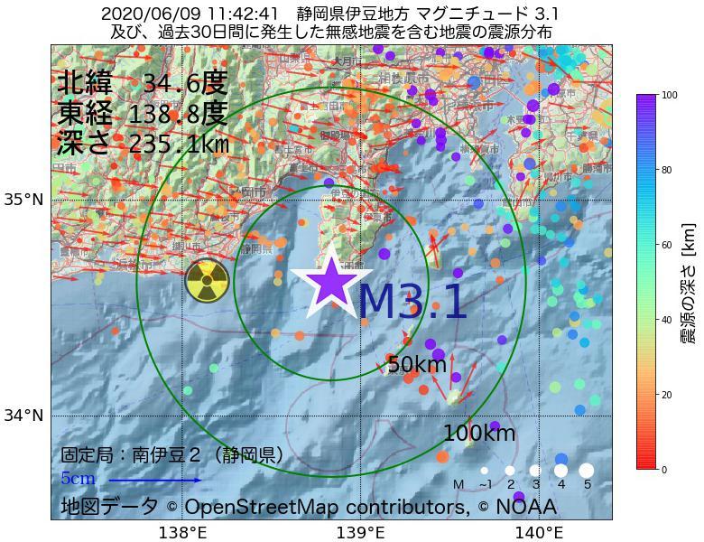 地震震源マップ:2020年06月09日 11時42分 静岡県伊豆地方でM3.1の地震