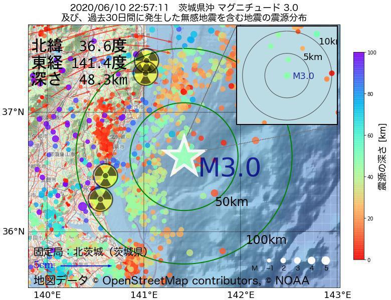 地震震源マップ:2020年06月10日 22時57分 茨城県沖でM3.0の地震