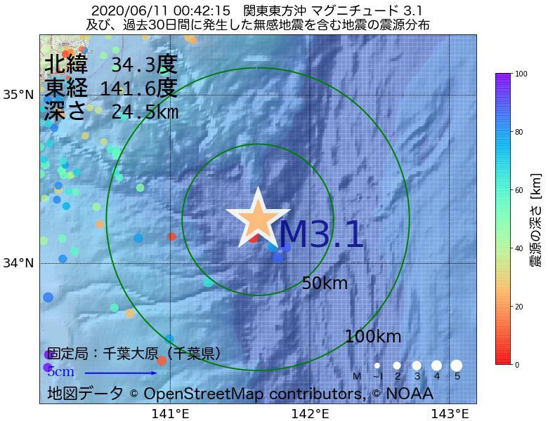 地震震源マップ:2020年06月11日 00時42分 関東東方沖でM3.1の地震