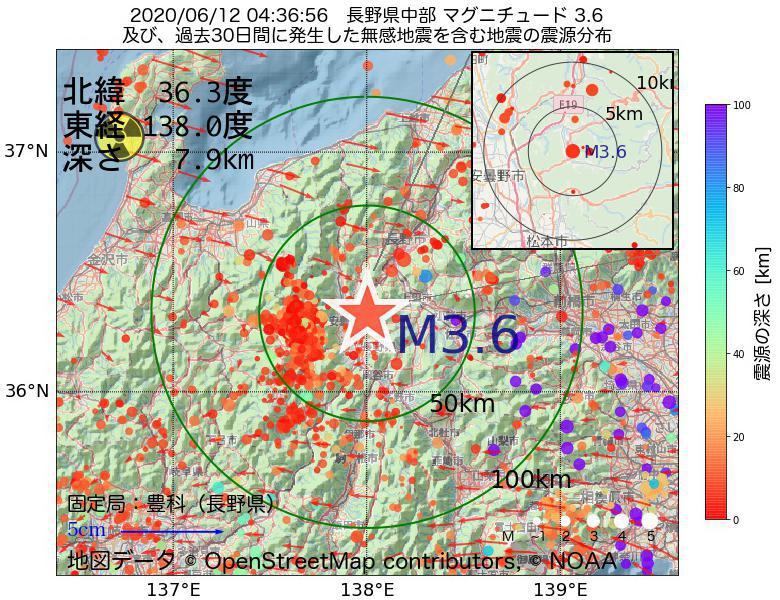 地震震源マップ:2020年06月12日 04時36分 長野県中部でM3.6の地震