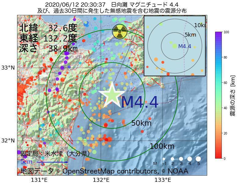 地震震源マップ:2020年06月12日 20時30分 日向灘でM4.4の地震