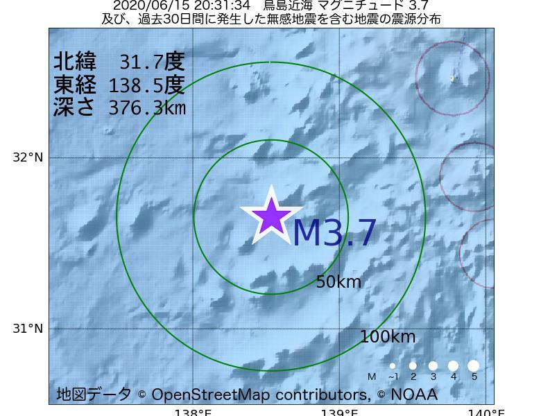 地震震源マップ:2020年06月15日 20時31分 鳥島近海でM3.7の地震