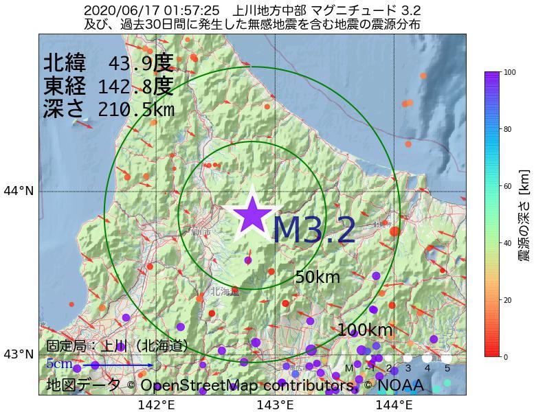 地震震源マップ:2020年06月17日 01時57分 上川地方中部でM3.2の地震