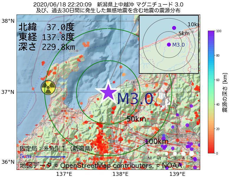 地震震源マップ:2020年06月18日 22時20分 新潟県上中越沖でM3.0の地震