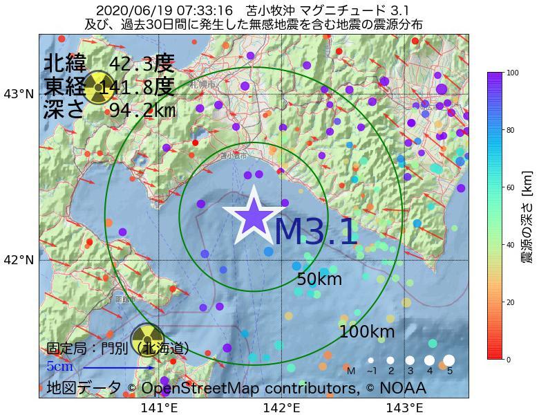 地震震源マップ:2020年06月19日 07時33分 苫小牧沖でM3.1の地震