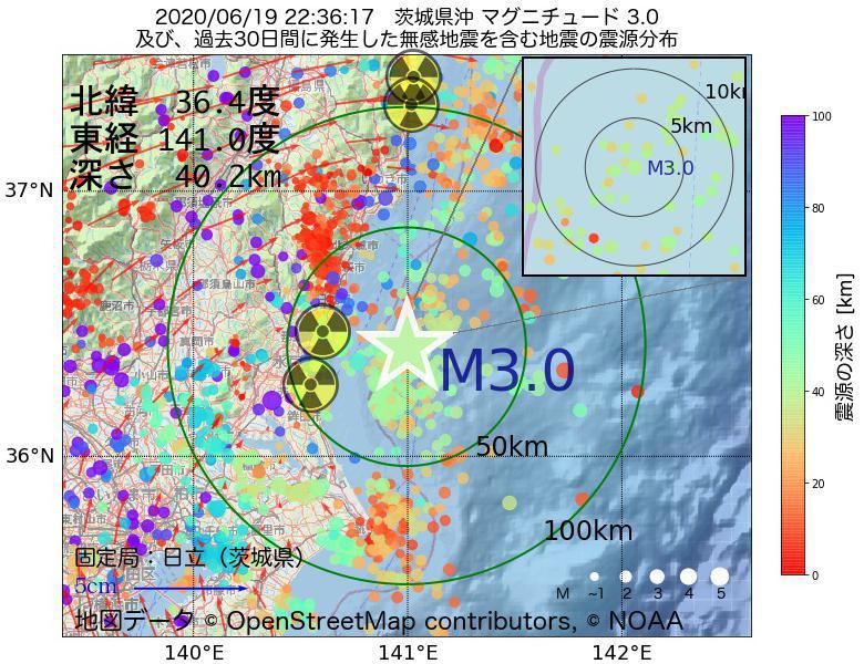 地震震源マップ:2020年06月19日 22時36分 茨城県沖でM3.0の地震