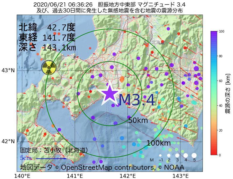 地震震源マップ:2020年06月21日 06時36分 胆振地方中東部でM3.4の地震