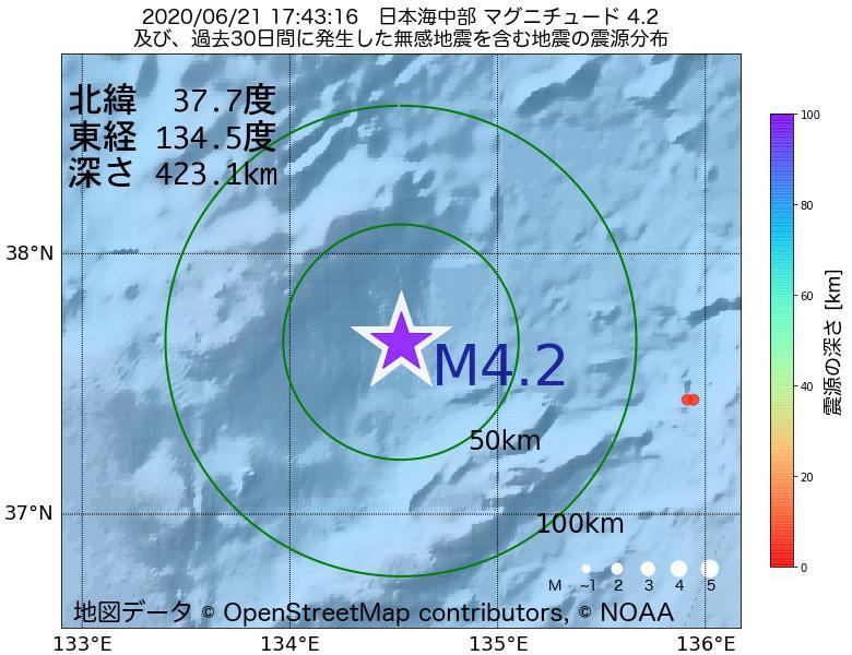 地震震源マップ:2020年06月21日 17時43分 日本海中部でM4.2の地震