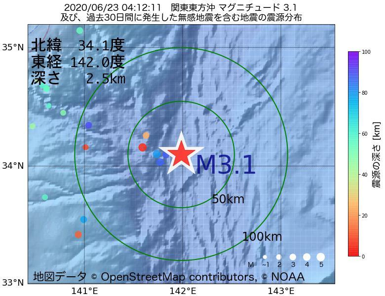 地震震源マップ:2020年06月23日 04時12分 関東東方沖でM3.1の地震