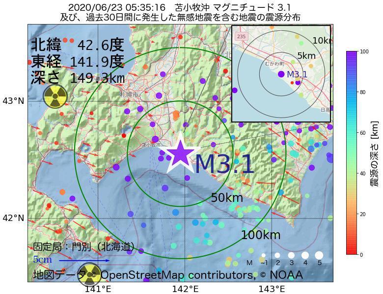 地震震源マップ:2020年06月23日 05時35分 苫小牧沖でM3.1の地震