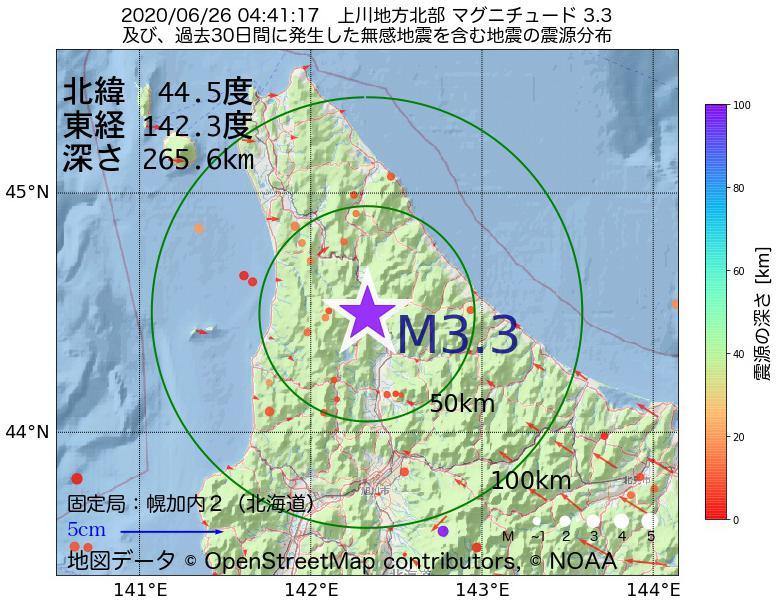 地震震源マップ:2020年06月26日 04時41分 上川地方北部でM3.3の地震
