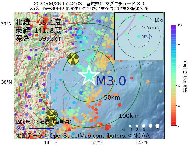 地震震源マップ:2020年06月26日 17時42分 宮城県沖でM3.0の地震