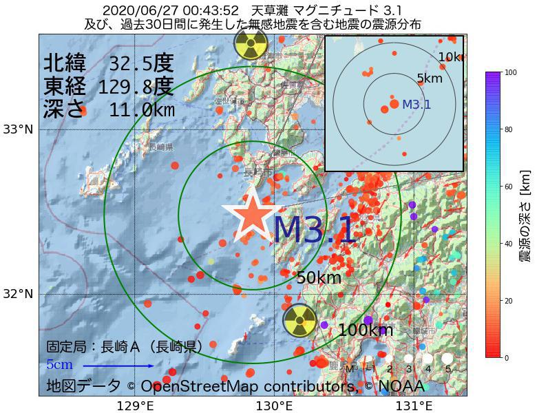 地震震源マップ:2020年06月27日 00時43分 天草灘でM3.1の地震