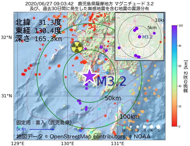 地震震源マップ:2020年06月27日 09時03分 鹿児島県薩摩地方でM3.2の地震