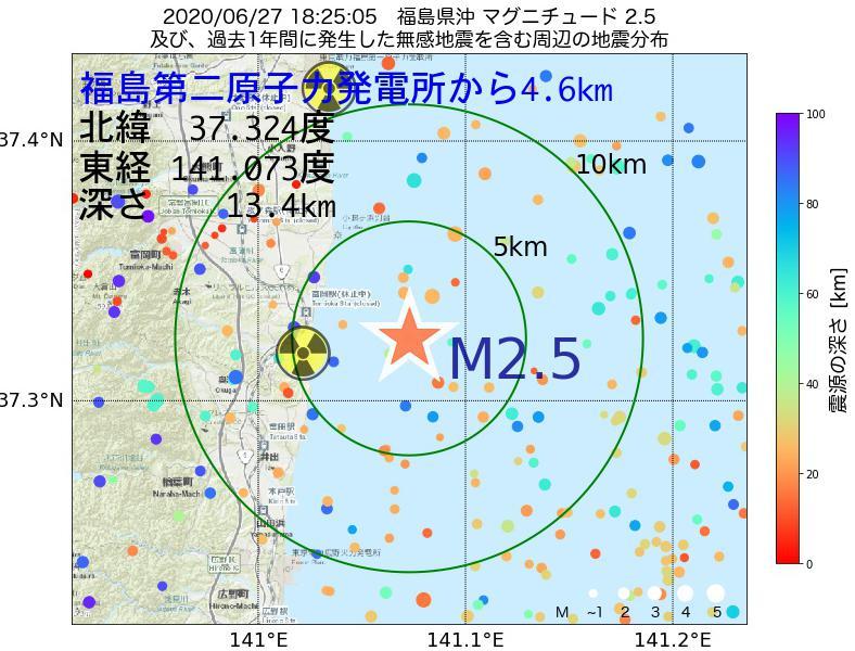 地震震源マップ:福島第二原子力発電所から4.6km地点でM2.5の地震が発生しました