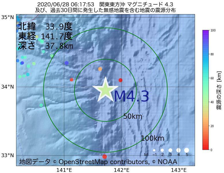 地震震源マップ:2020年06月28日 06時17分 関東東方沖でM4.3の地震