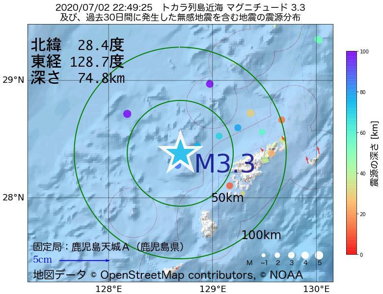 地震震源マップ:2020年07月02日 22時49分 トカラ列島近海でM3.3の地震