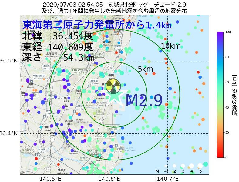地震震源マップ:東海第二原子力発電所から1.4km地点でM2.9の地震が発生しました