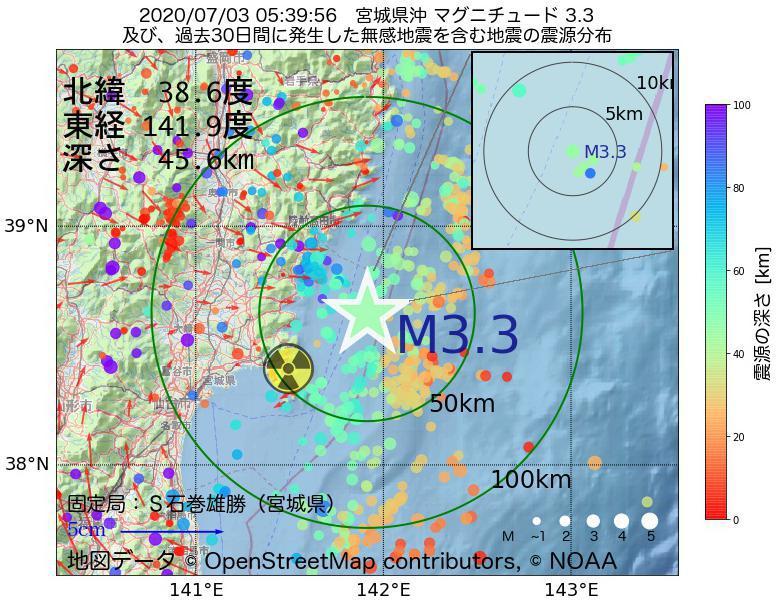 地震震源マップ:2020年07月03日 05時39分 宮城県沖でM3.3の地震