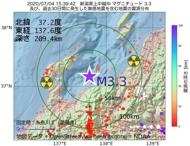地震震源マップ:2020年07月04日 15時39分 新潟県上中越沖でM3.3の地震