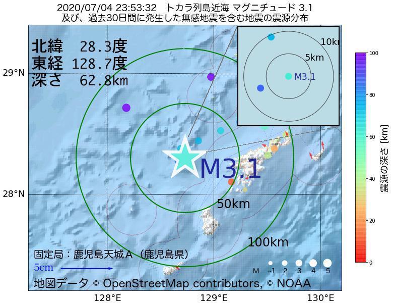 地震震源マップ:2020年07月04日 23時53分 トカラ列島近海でM3.1の地震
