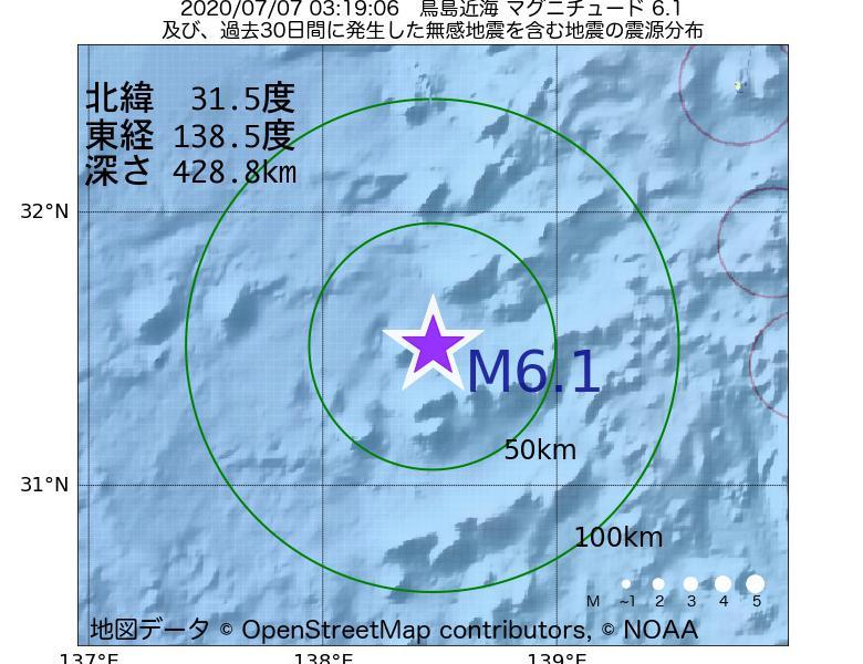 地震震源マップ:2020年07月07日 03時19分 鳥島近海でM6.1の地震