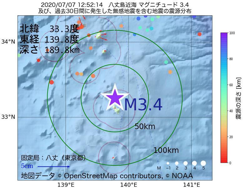 地震震源マップ:2020年07月07日 12時52分 八丈島近海でM3.4の地震