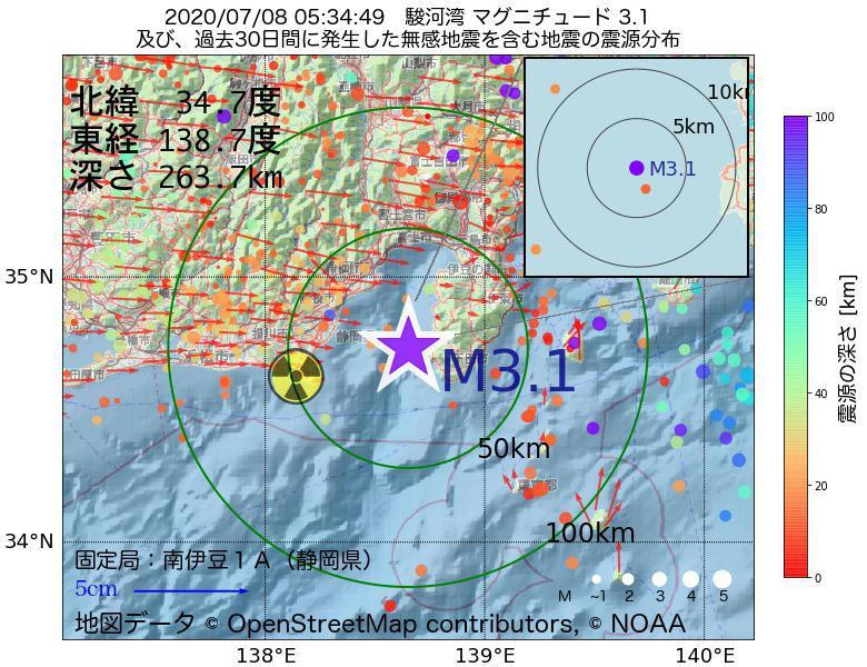 地震震源マップ:2020年07月08日 05時34分 駿河湾でM3.1の地震