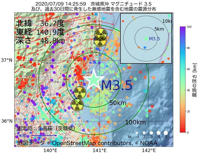 地震震源マップ:2020年07月09日 14時25分 茨城県沖でM3.5の地震