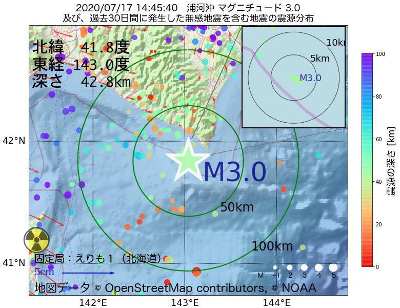 地震震源マップ:2020年07月17日 14時45分 浦河沖でM3.0の地震