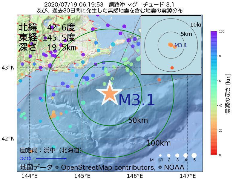地震震源マップ:2020年07月19日 06時19分 釧路沖でM3.1の地震