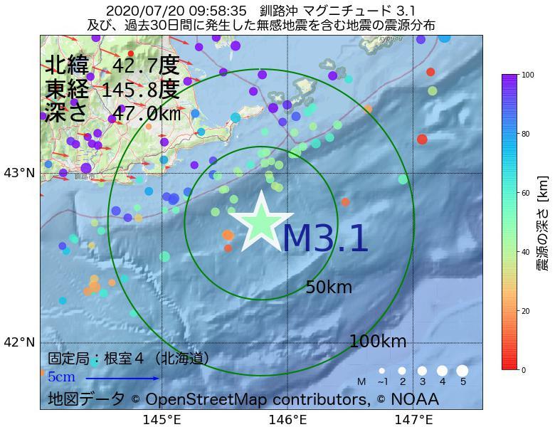 地震震源マップ:2020年07月20日 09時58分 釧路沖でM3.1の地震