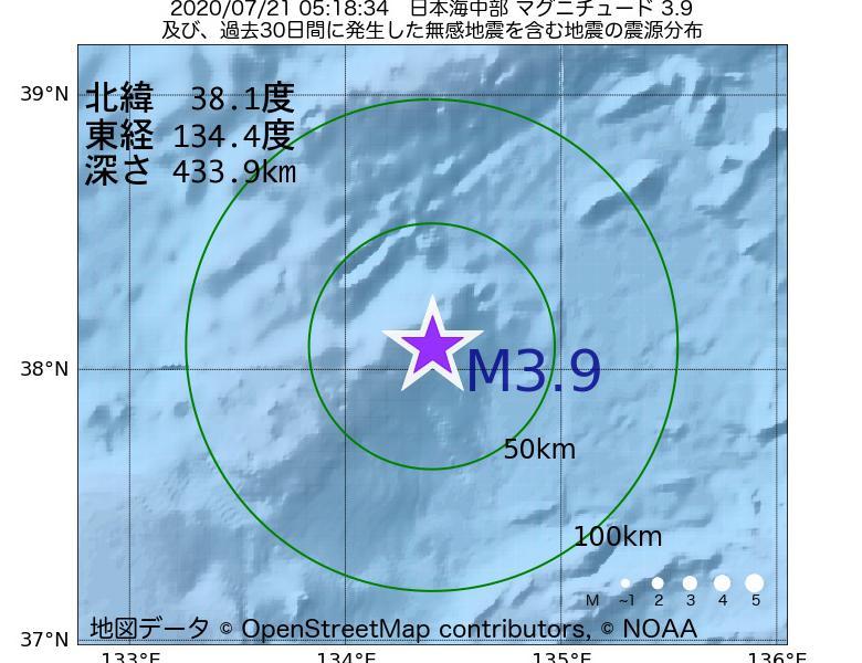 地震震源マップ:2020年07月21日 05時18分 日本海中部でM3.9の地震