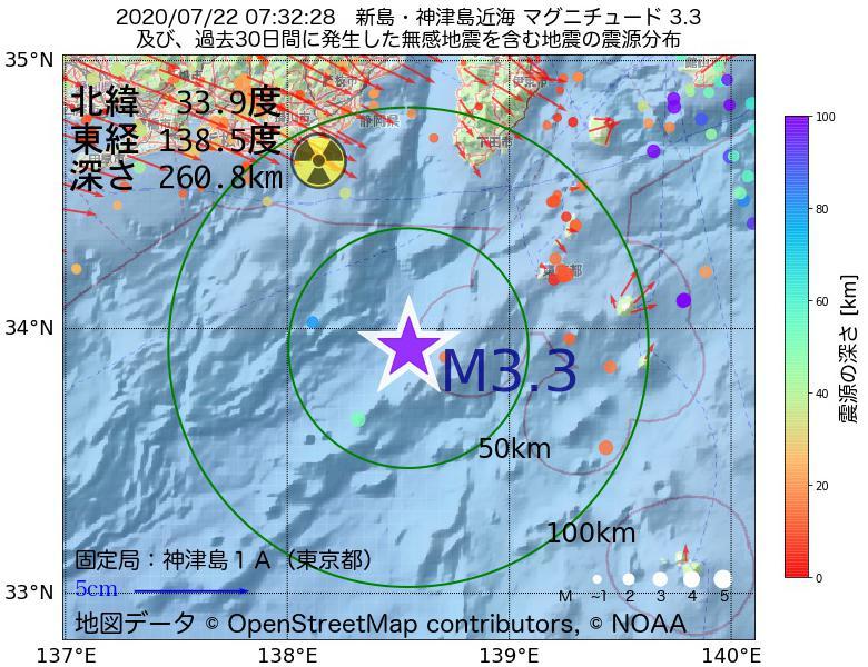 地震震源マップ:2020年07月22日 07時32分 新島・神津島近海でM3.3の地震