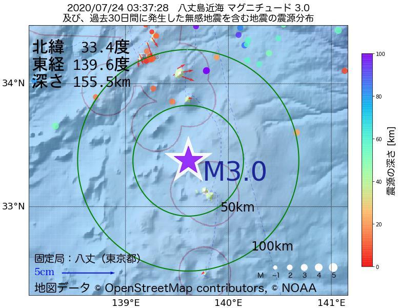 地震震源マップ:2020年07月24日 03時37分 八丈島近海でM3.0の地震