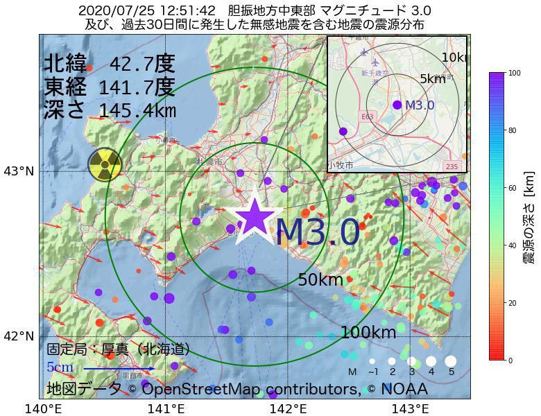 地震震源マップ:2020年07月25日 12時51分 胆振地方中東部でM3.0の地震