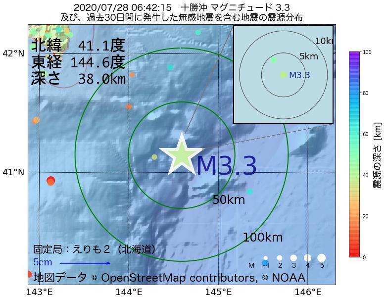 地震震源マップ:2020年07月28日 06時42分 十勝沖でM3.3の地震