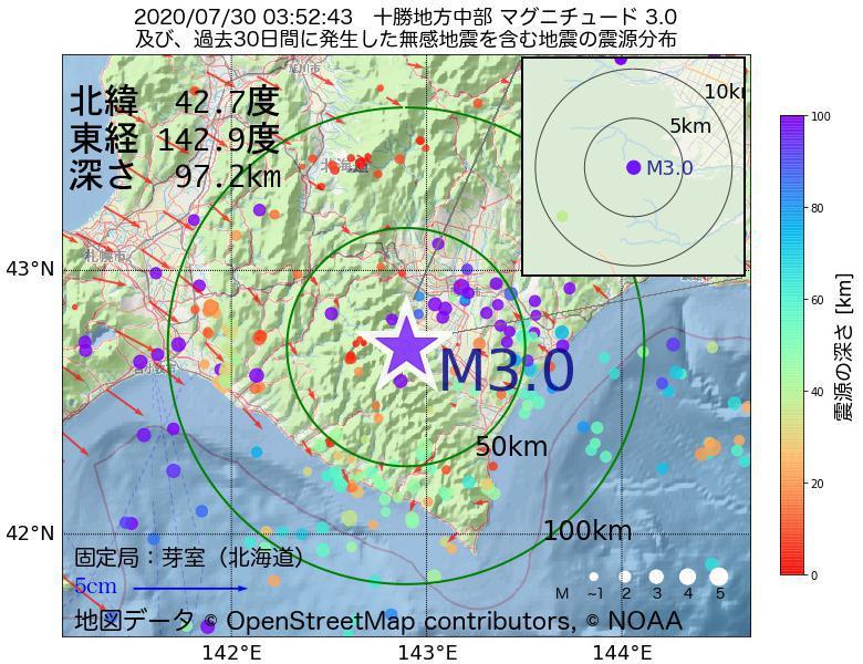 地震震源マップ:2020年07月30日 03時52分 十勝地方中部でM3.0の地震